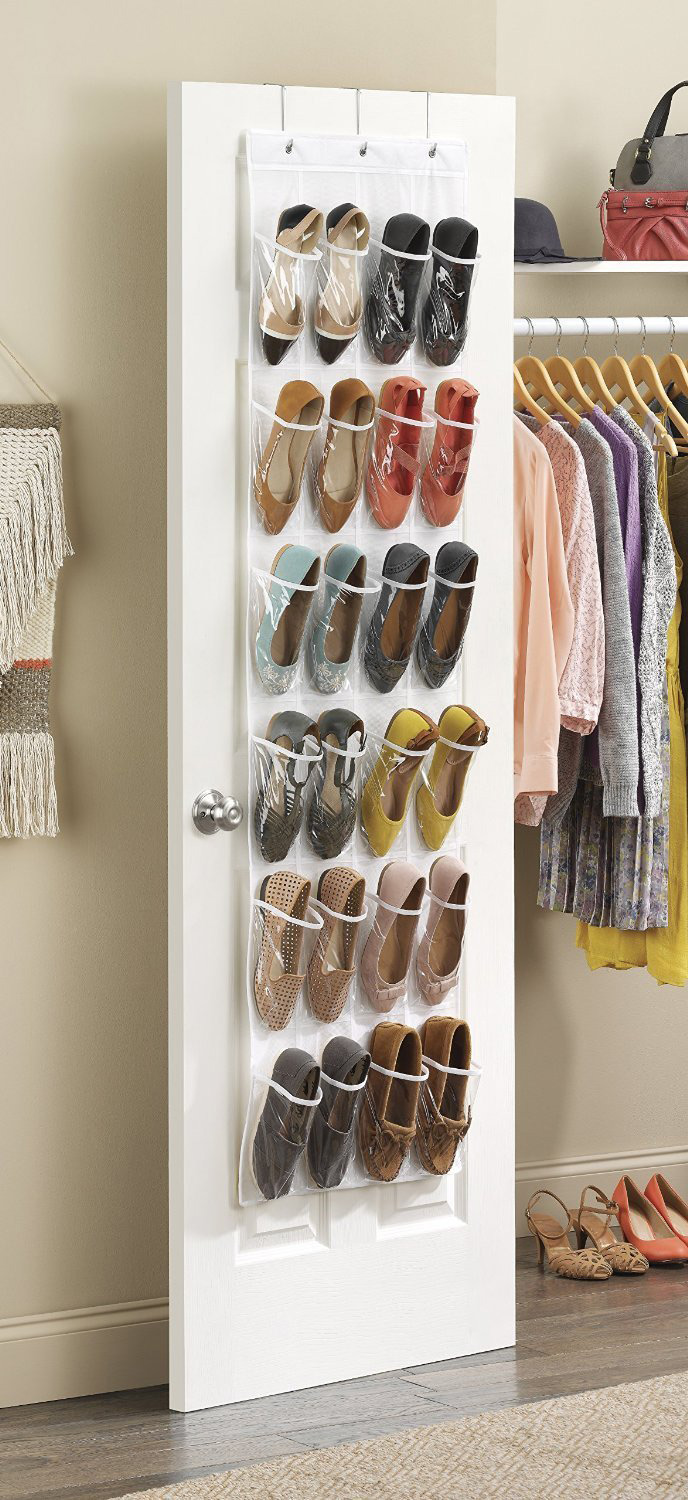 Whitmor 24 Pocket White Crystal Collection Over-The-Door Shoe Organizer, Clear
